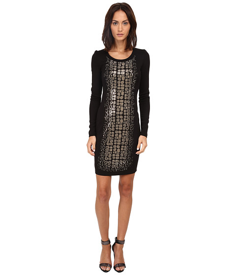 Versace Jeans - Long Sleeve Animal Sequined Dress (Nero) Women's Dress