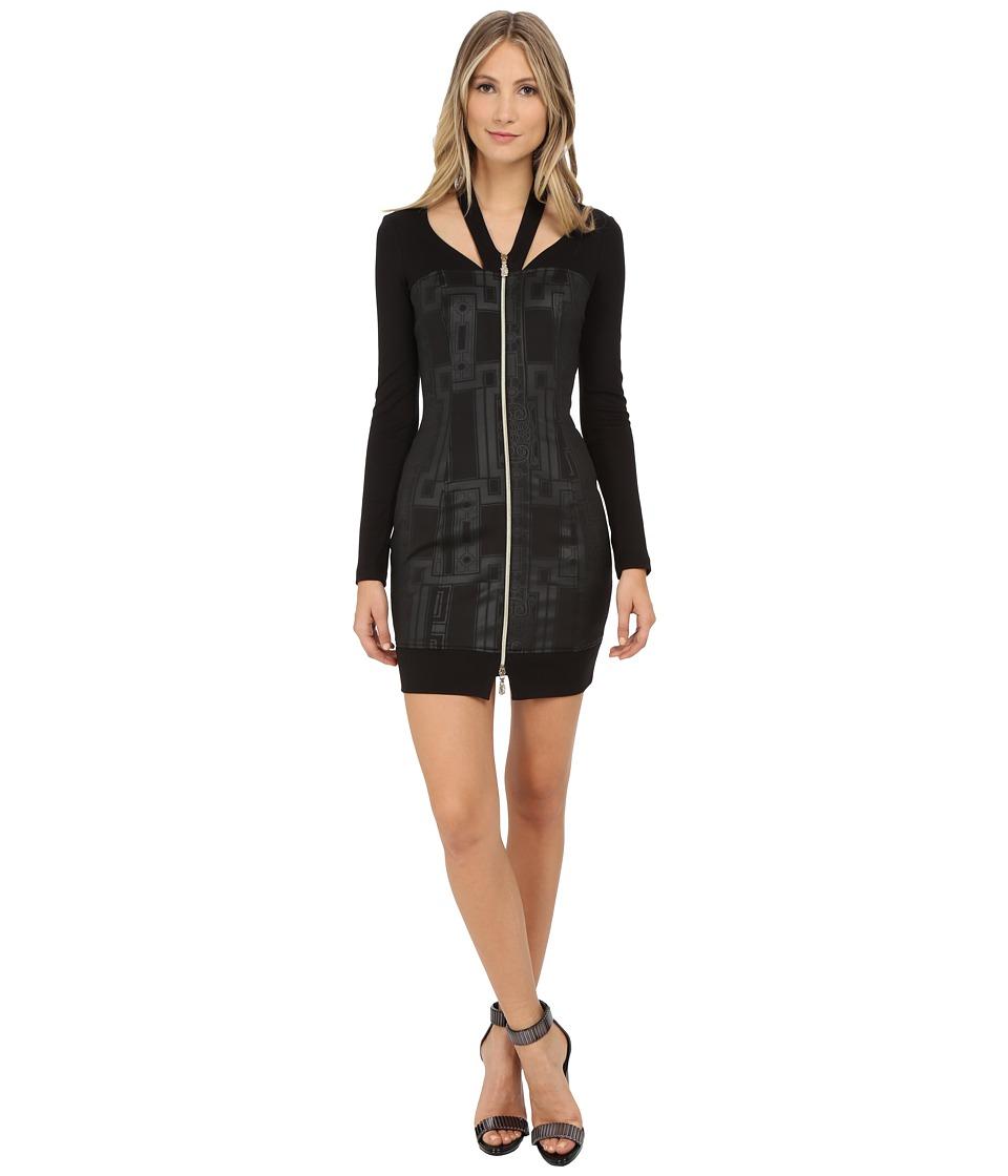 Versace Jeans - Long Sleeve Zipper Front Dress (Nero) Women's Dress