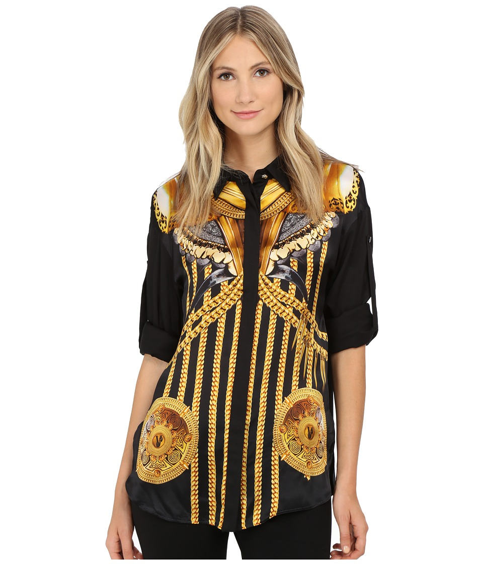 Versace Jeans - Long Sleeve Printed Blouse (Nero) Women's Blouse