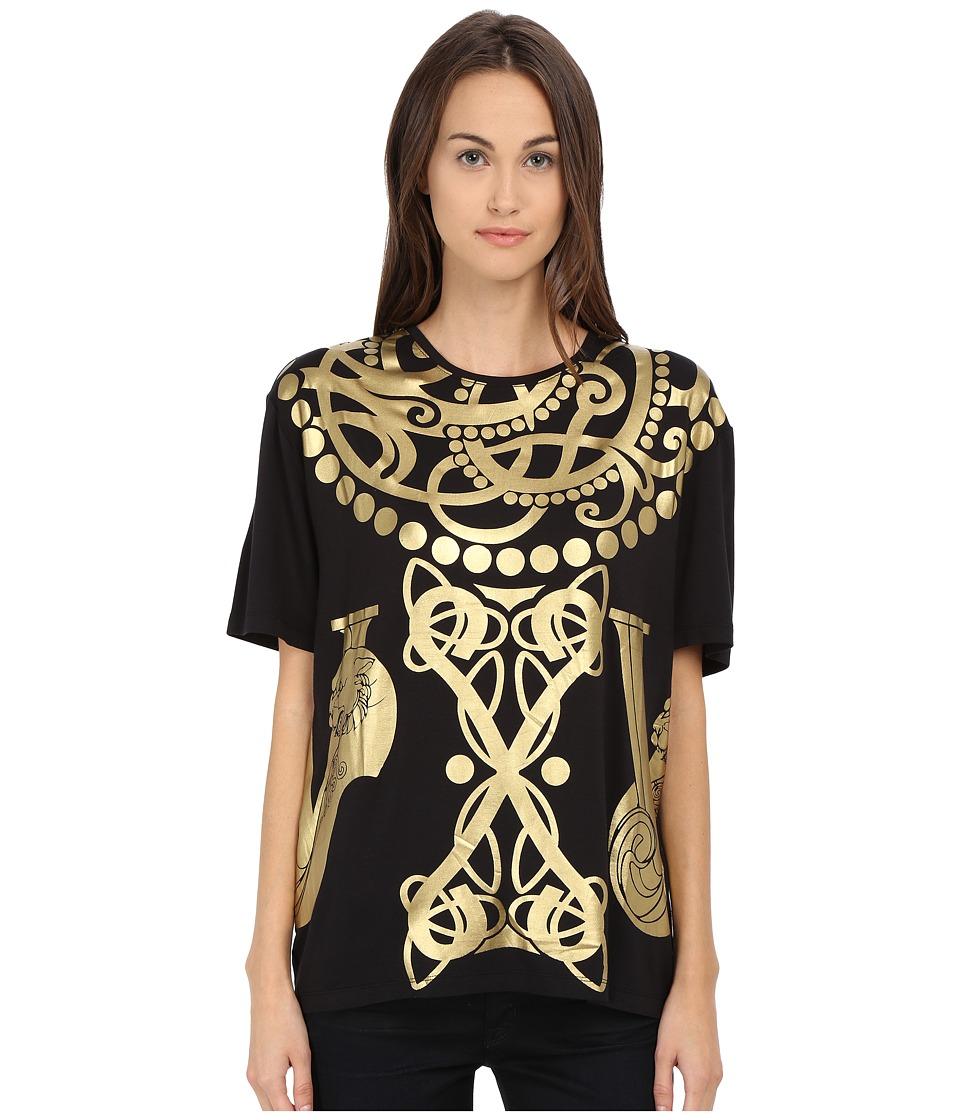 Versace Jeans - Short Sleeve Foil Print T-Shirt (Nero) Women's T Shirt