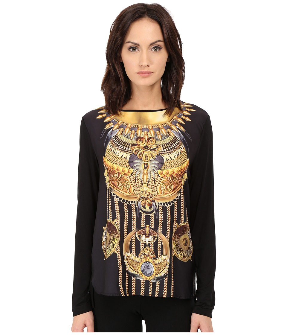 Versace Jeans - Long Sleeve Printed Boat Neck Shirt (Nero) Women's T Shirt