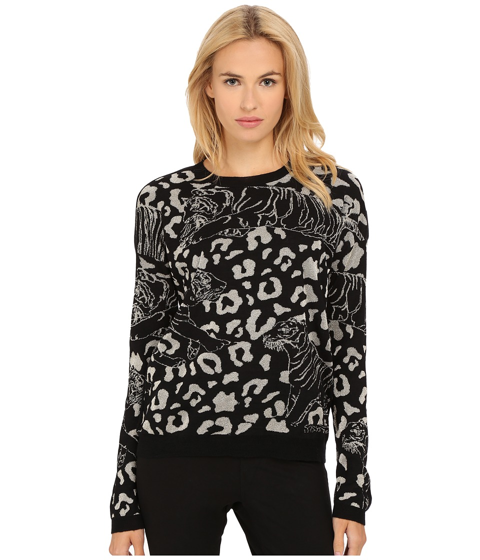 Versace Jeans - Long Sleeve Animal Print Sweater (Nero) Women's Sweater