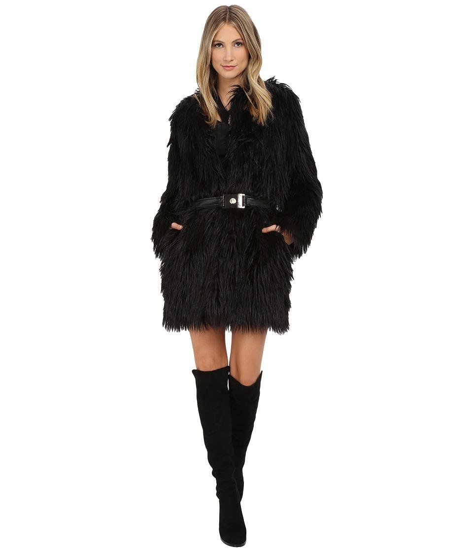 Versace Jeans - Belted Faux Fur Long Sleeve Coat (Nero) Women's Coat