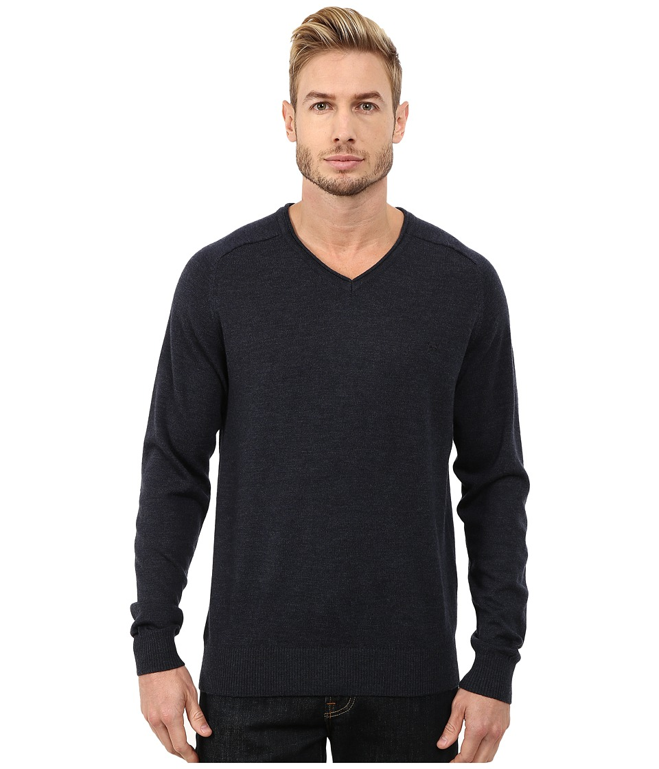 Rodd & Gunn - Burwood Merino High V-Neck Merino Knit (Ink) Men's Long Sleeve Pullover