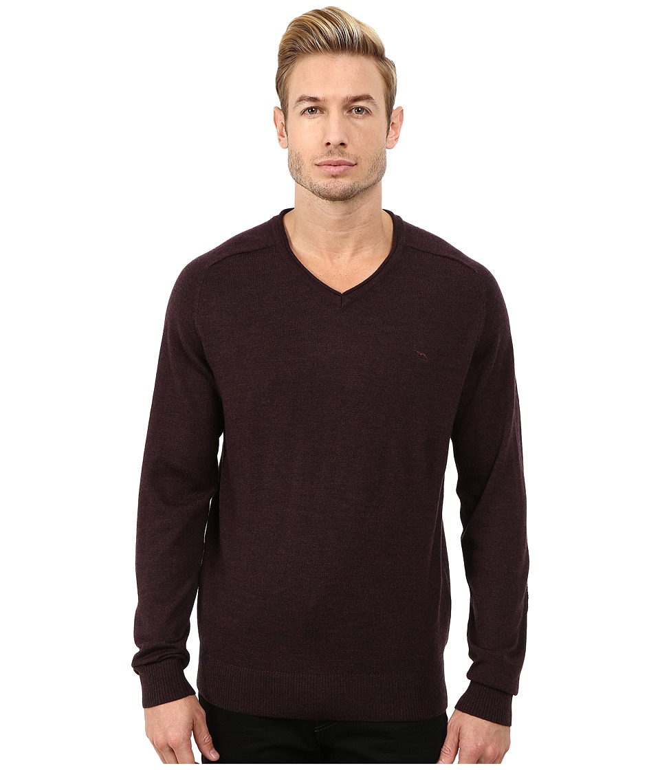 Rodd & Gunn - Burwood Merino High V-Neck Merino Knit (Burgundy) Men's Long Sleeve Pullover