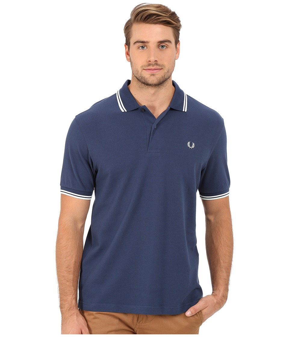 Fred Perry - Twin Tipped Fred Perry Polo (Service Blue/Snow White) Men's Short Sleeve Pullover