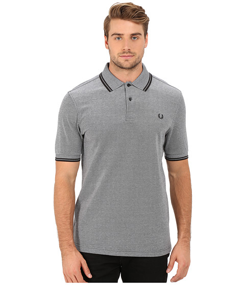 Fred Perry - Twin Tipped Fred Perry Polo (Black Oxford/Black) Men's Short Sleeve Pullover