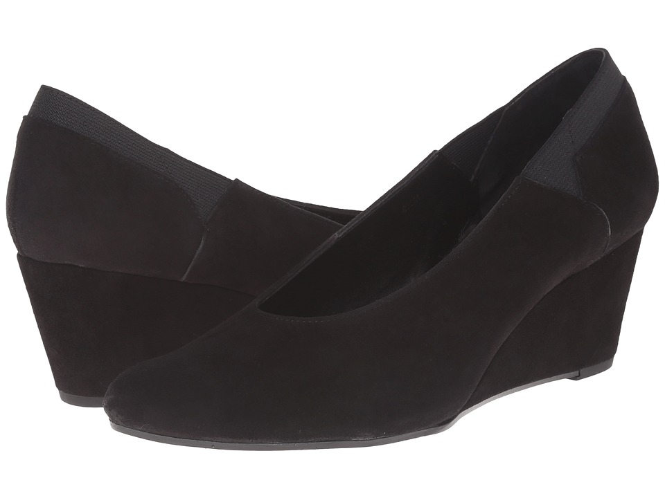 Vaneli - Darcy (Black Suede/Matching Elastic) Women's Wedge Shoes