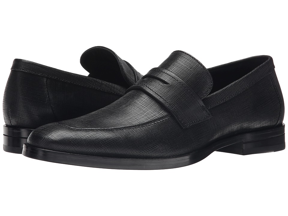 Calvin Klein - Karl (Black Textured Leather) Men's Slip-on Dress Shoes