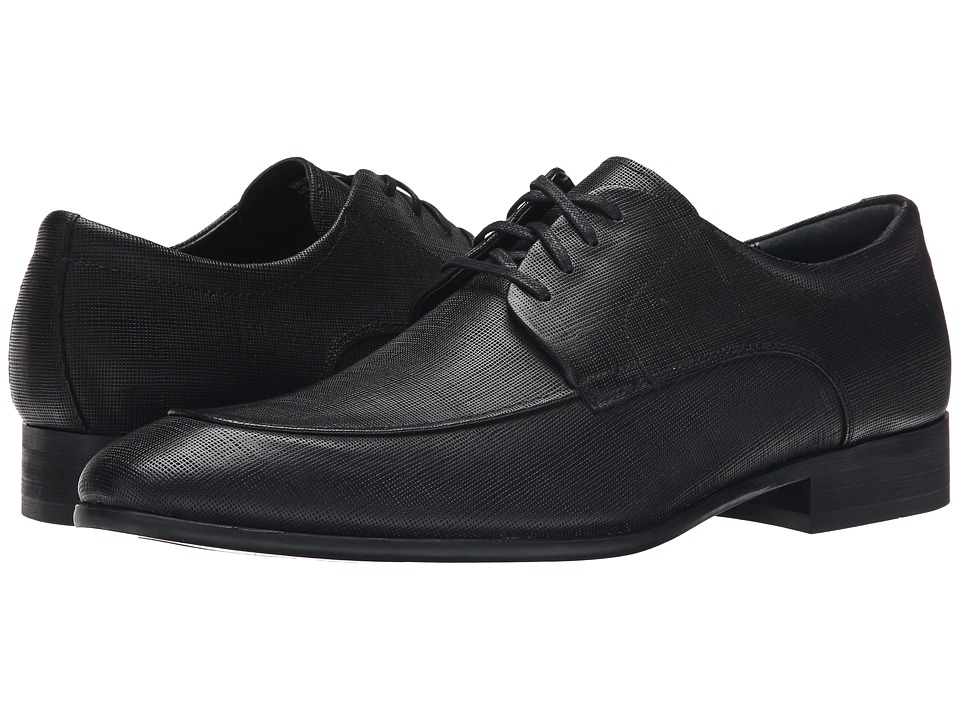 Calvin Klein - Valient (Black Textured Leather) Men's Lace up casual Shoes