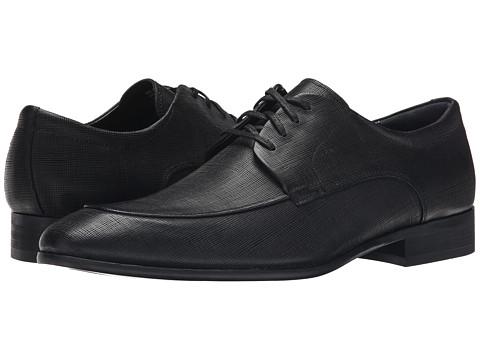 Calvin Klein - Valient (Black Textured Leather) Men's Lace up casual Shoes