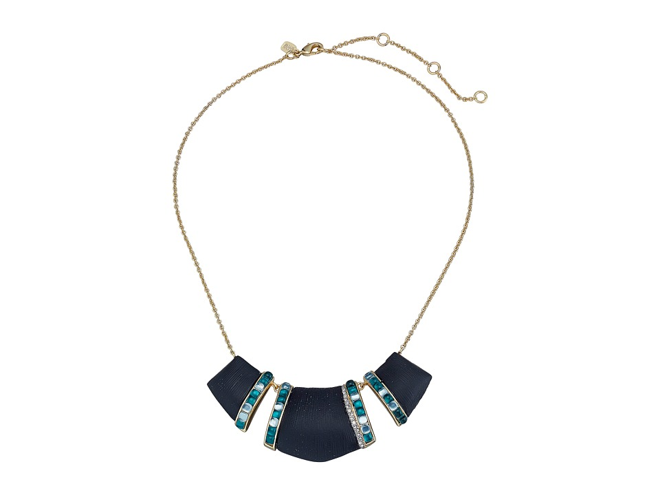 Alexis Bittar - Three Part Bib w/ Ombre Cabochon Racing Stripes Necklace (Black) Necklace