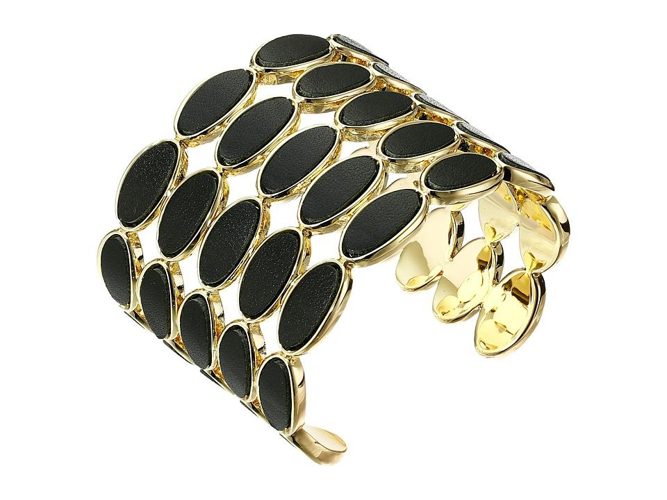 House of Harlow 1960 - Del Sol Leather Cuff Bracelet (Black) Bracelet