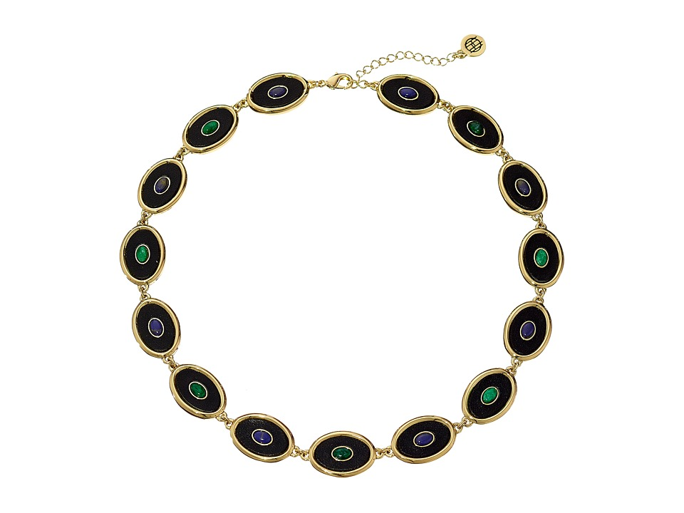 House of Harlow 1960 - Del Sol Reversible Station Necklace (Malachite/Lapis/Black) Necklace