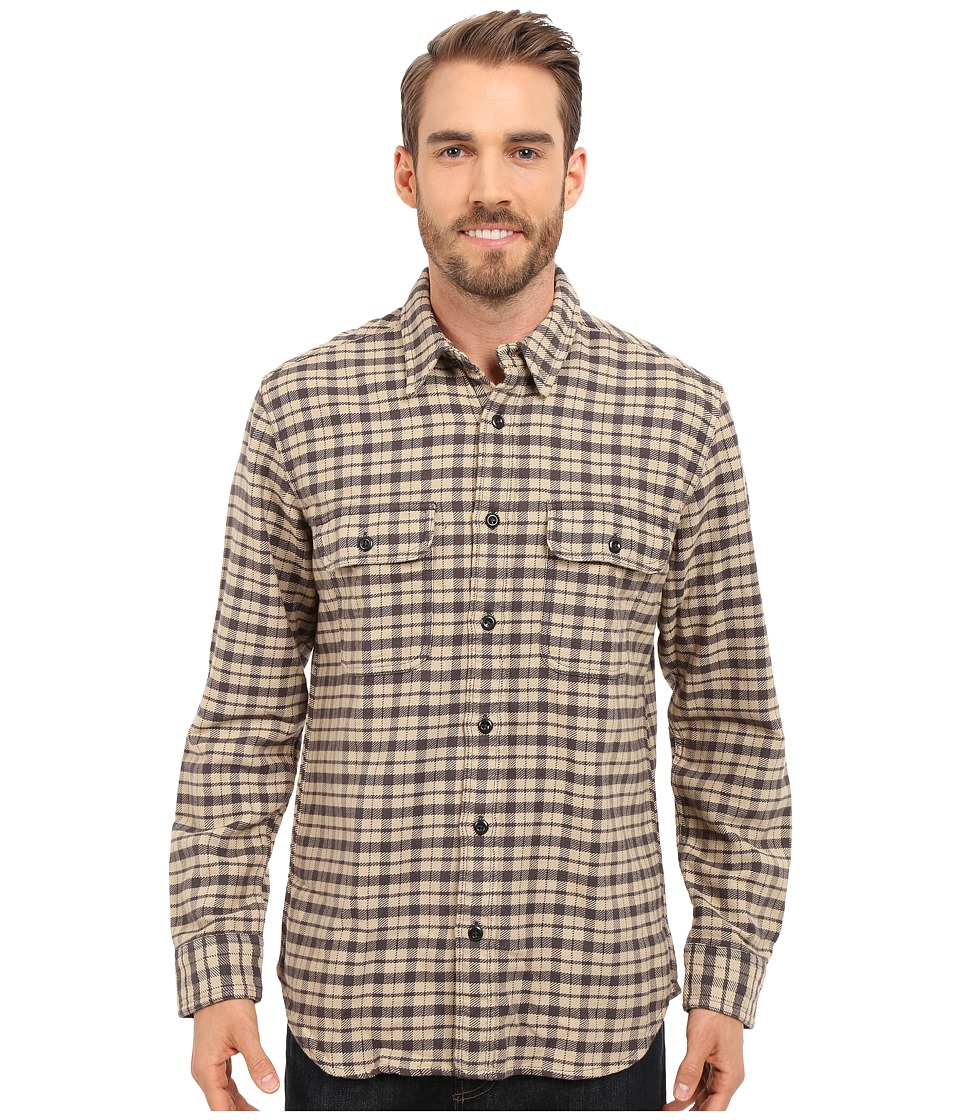 Filson - Vintage Flannel Work Shirt (Cream/Black/Brown Tartan) Men's Clothing