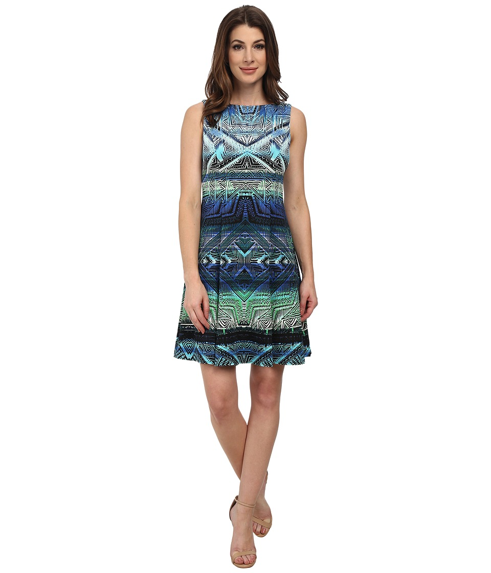 Maggy London - Light Weight Scuba Burnt Aztec Fit and Flare (Soft White/Mint) Women's Dress