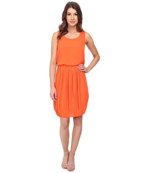 Maggy London - Pebble Georgette Blouson with Pleated Skirt (Tangerine) Women's Dress