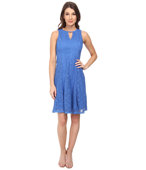 Maggy London - Medallion Crochet Fit and Flare with Trim Hem (Blue Breeze) Women