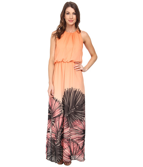 Maggy London - Wild Palm Printed Chiffon Maxi (Orange/Black) Women