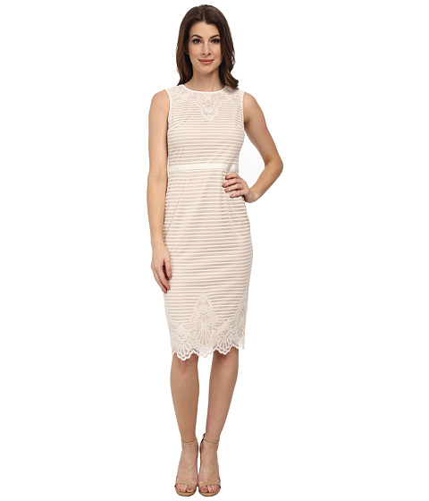 Maggy London - Stripe Lace Border Sheath (Ecru) Women's Dress