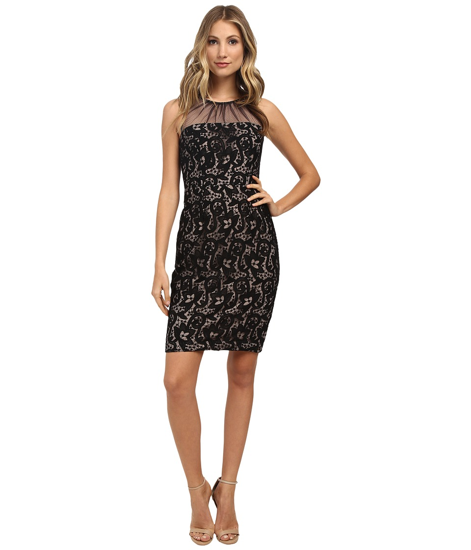 Maggy London Summer Scroll Sheath with Mesh Illusion Black Dress