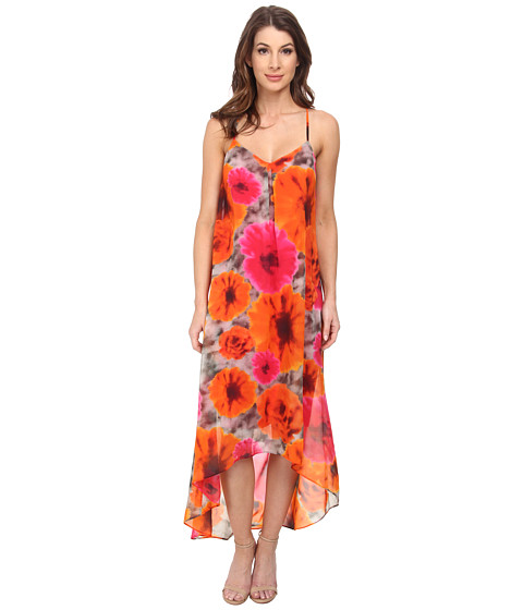 Maggy London - Smudge Daisy Printed Chiffon Hi Low Maxi (Grey/Orange) Women's Dress