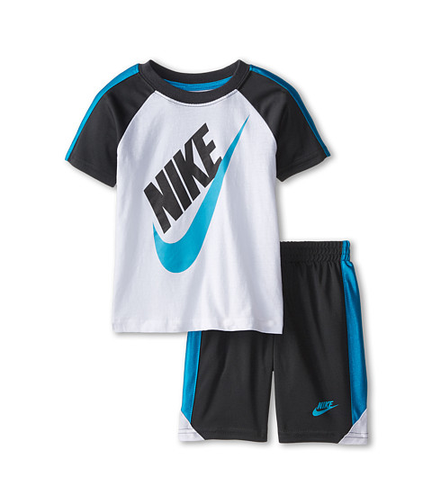 Nike Kids - Futura Jersey Cotton Short Sleeve Shorts Set (Toddler) (Anthracite) Boy