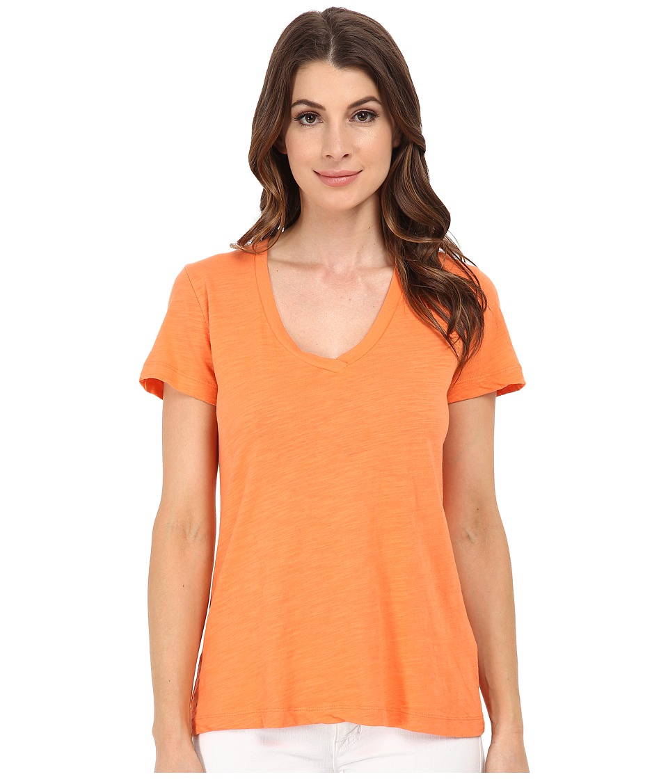 Mod-o-doc - Slub Jersey Short Sleeve V-Neck Tee (Citrus) Women's Short Sleeve Pullover