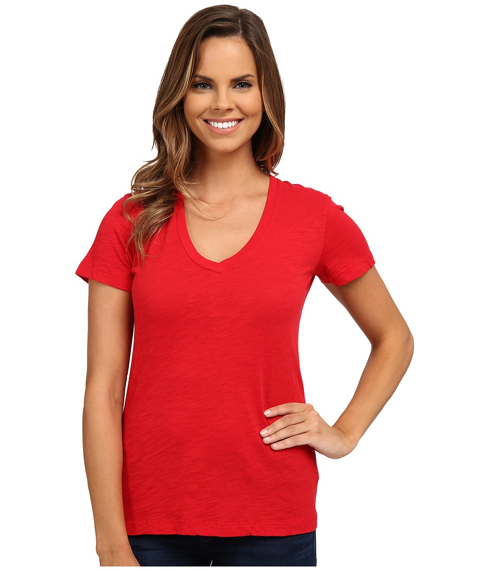 Mod-o-doc - Slub Jersey Short Sleeve V-Neck Tee (Ruby) Women's Short Sleeve Pullover