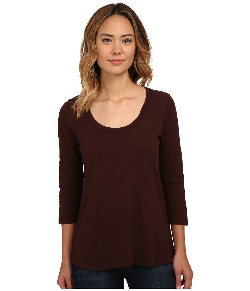 Mod-o-doc - Slub Jersey 3/4 Sleeve Scoop Neck Tee (Cocoa) Women's T Shirt