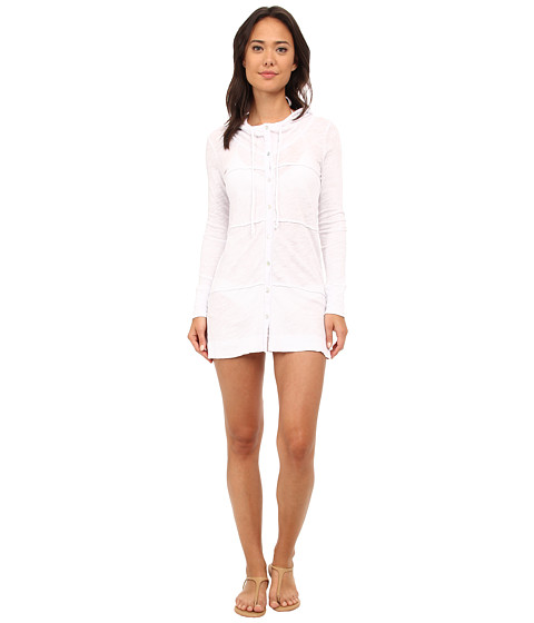 Mod-o-doc - Sheer Slub Jersey Button-Front Hooded Cover-Up (White) Women