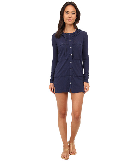 Mod-o-doc - Sheer Slub Jersey Button-Front Hooded Cover-Up (New Navy) Women's Clothing
