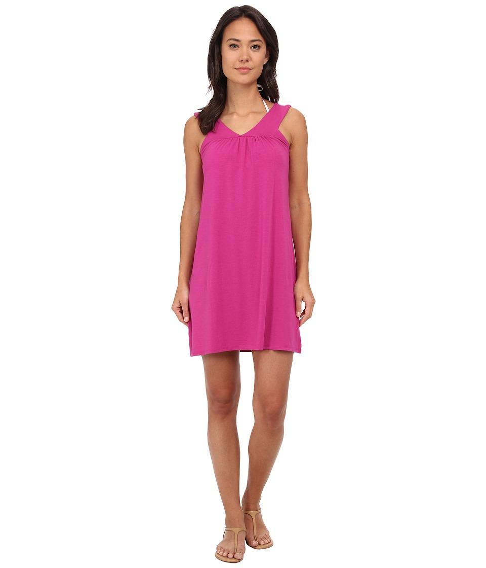 Mod-o-doc Cotton Modal Spandex Jersey Banded V-Neck Dress Cover-Up (Plume) Women
