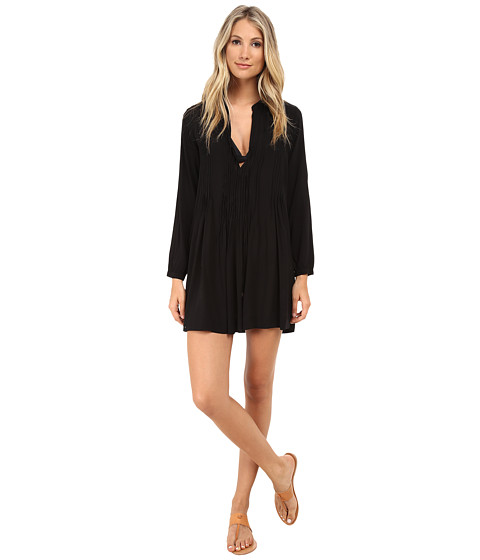 Mod-o-doc - Washed Rayon Voile Tie Front Pintuck Dress Cover-Up (Black) Women's Dress