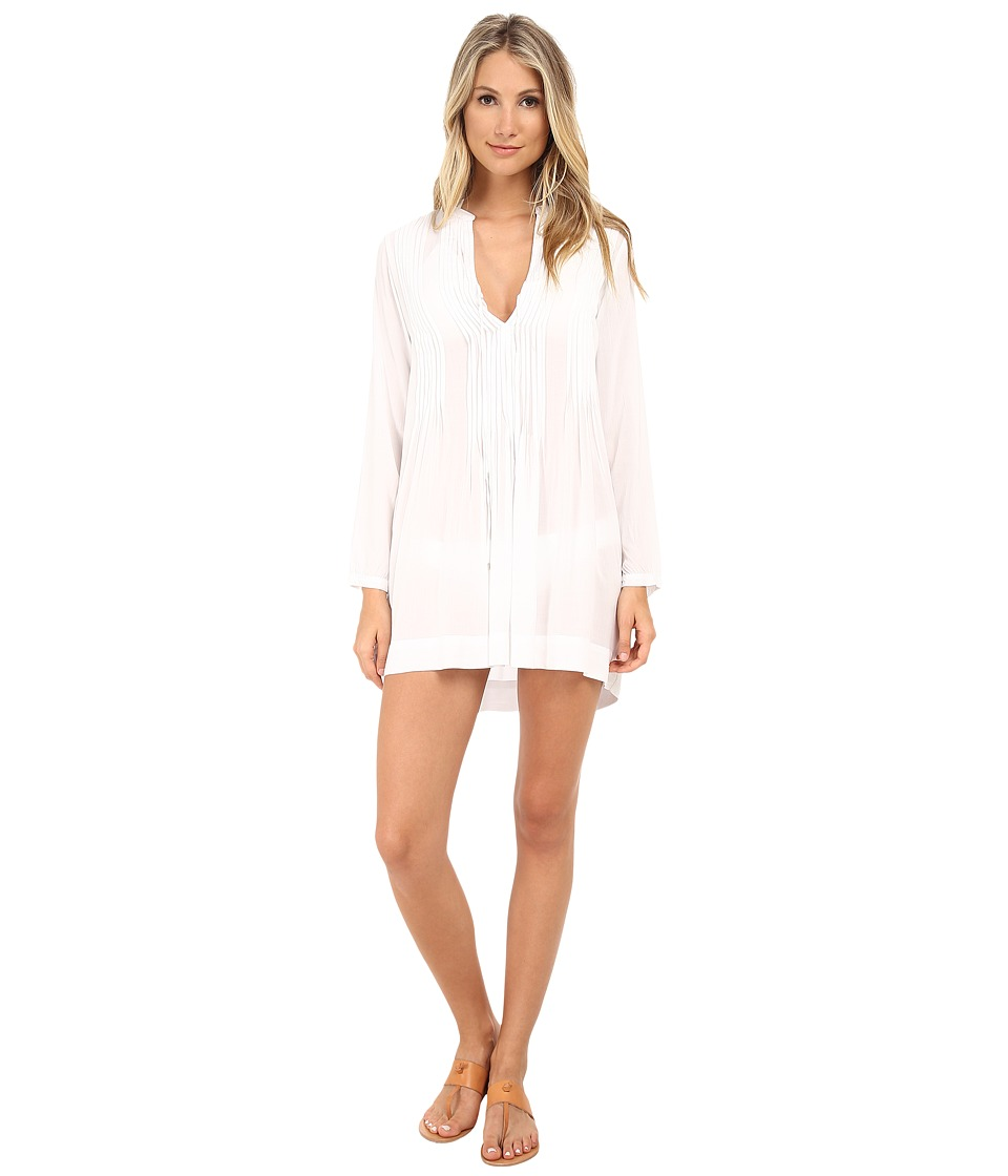 Mod-o-doc - Washed Rayon Voile Tie Front Pintuck Dress Cover-Up (White) Women