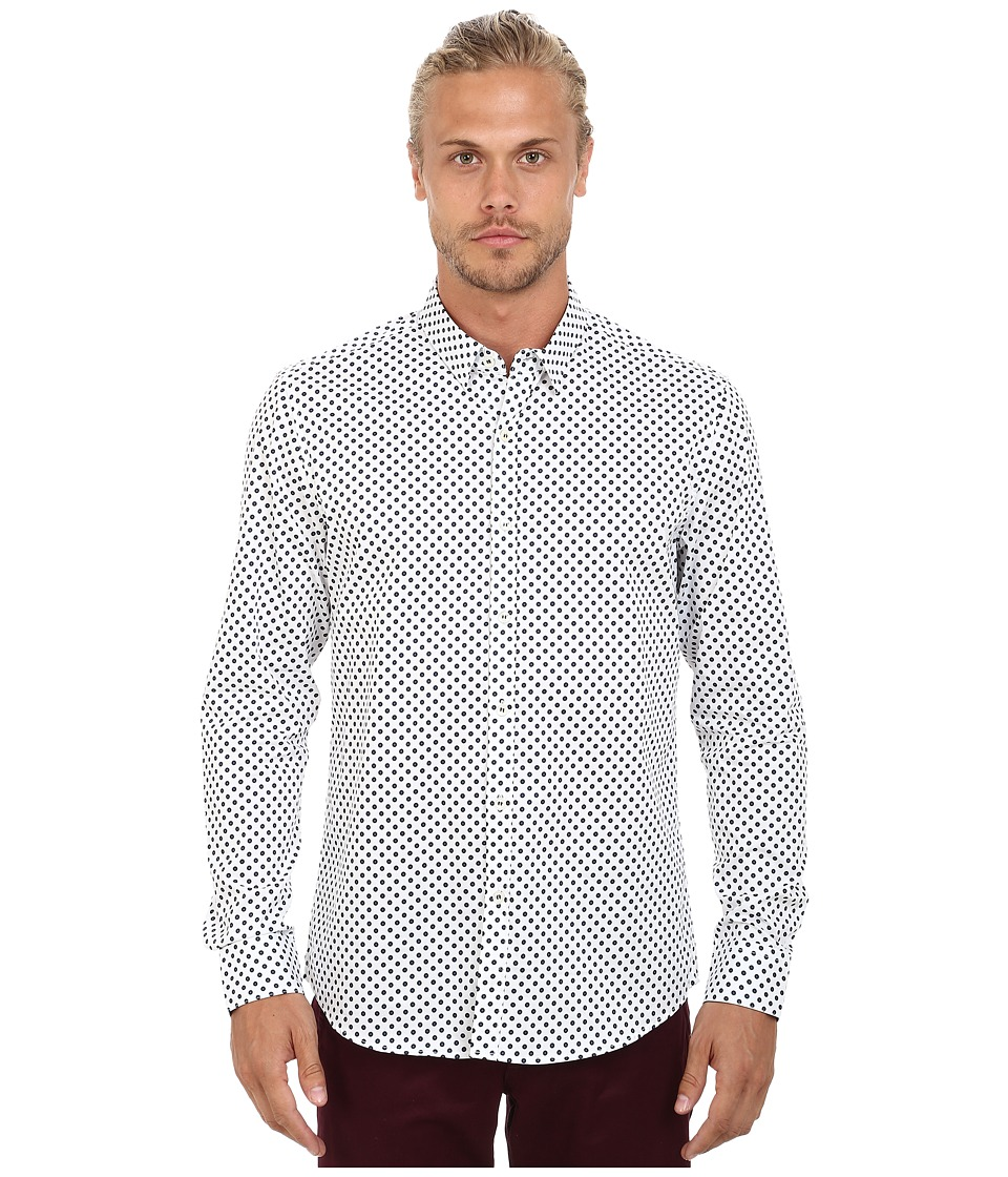 7 Diamonds - Mystic Forest Top (White) Men's Long Sleeve Button Up
