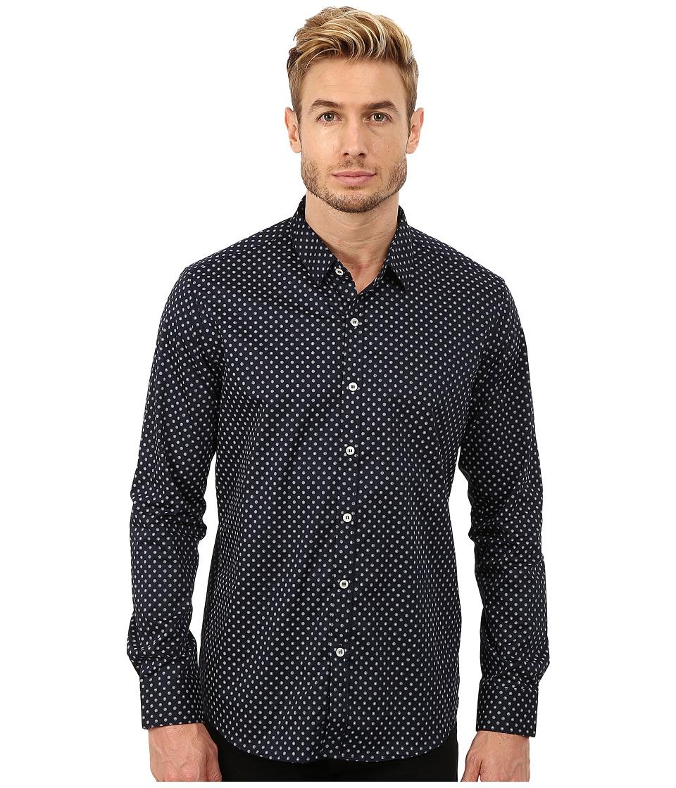 7 Diamonds - Blue Fields Top (Navy) Men's Long Sleeve Button Up