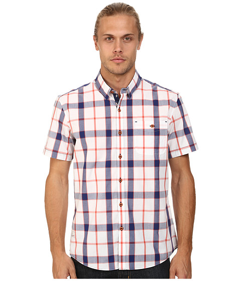 7 Diamonds - Face to Sun Top (Oxford Blue) Men's Short Sleeve Button Up