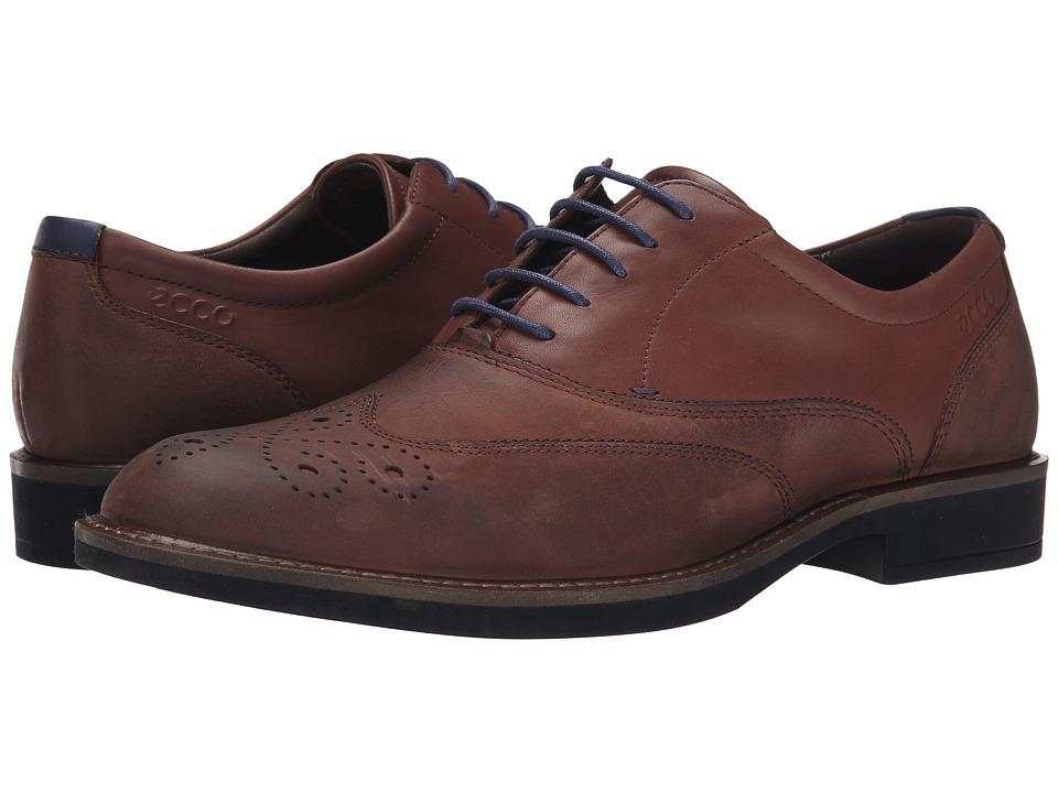 ECCO - Biarritz Wingtip Oxford (Mink) Men's Lace Up Wing Tip Shoes