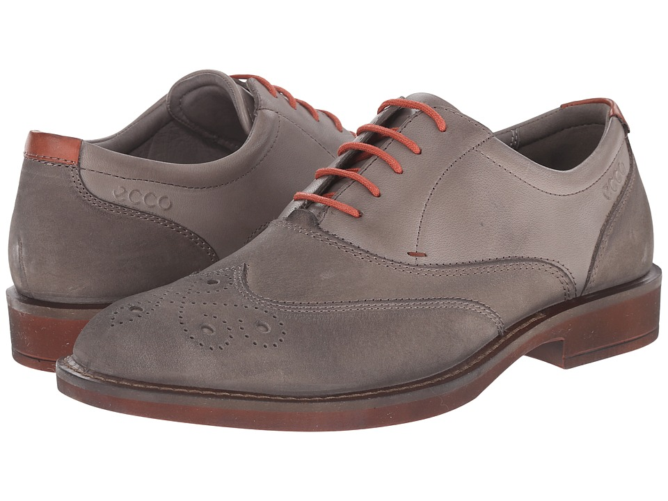 ECCO - Biarritz Wingtip Oxford (Warm Grey) Men's Lace Up Wing Tip Shoes