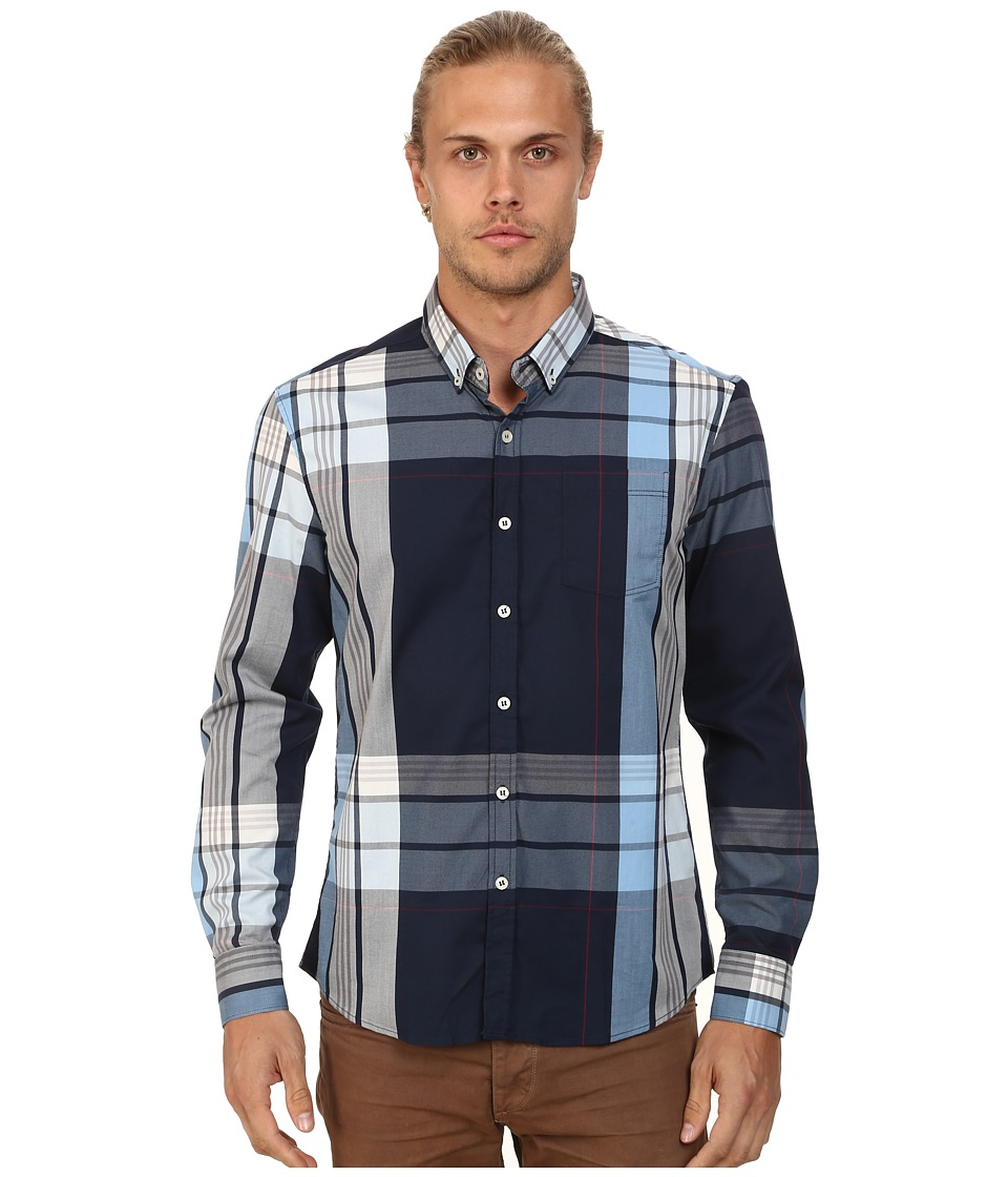 7 Diamonds - Blue Republic Top (Navy) Men's Long Sleeve Button Up