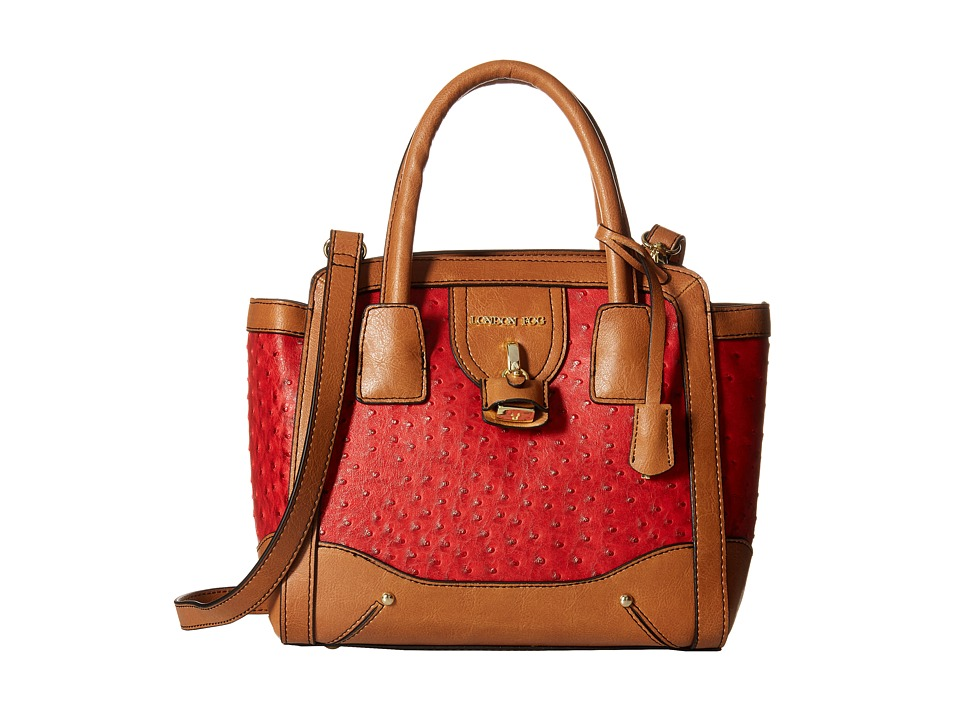London Fog - Lark Satchel (Red Ostrich) Satchel Handbags