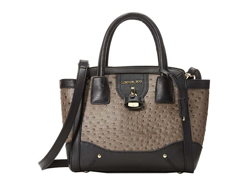 London Fog - Lark Satchel (Charcoal Ostrich) Satchel Handbags