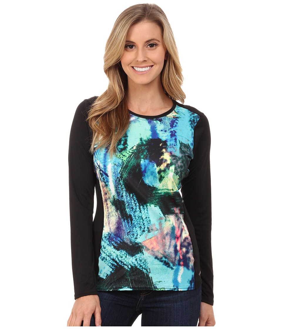 Hot Chillys - Peach Print Crewneck (Abstract Ocean/Black) Women's Clothing