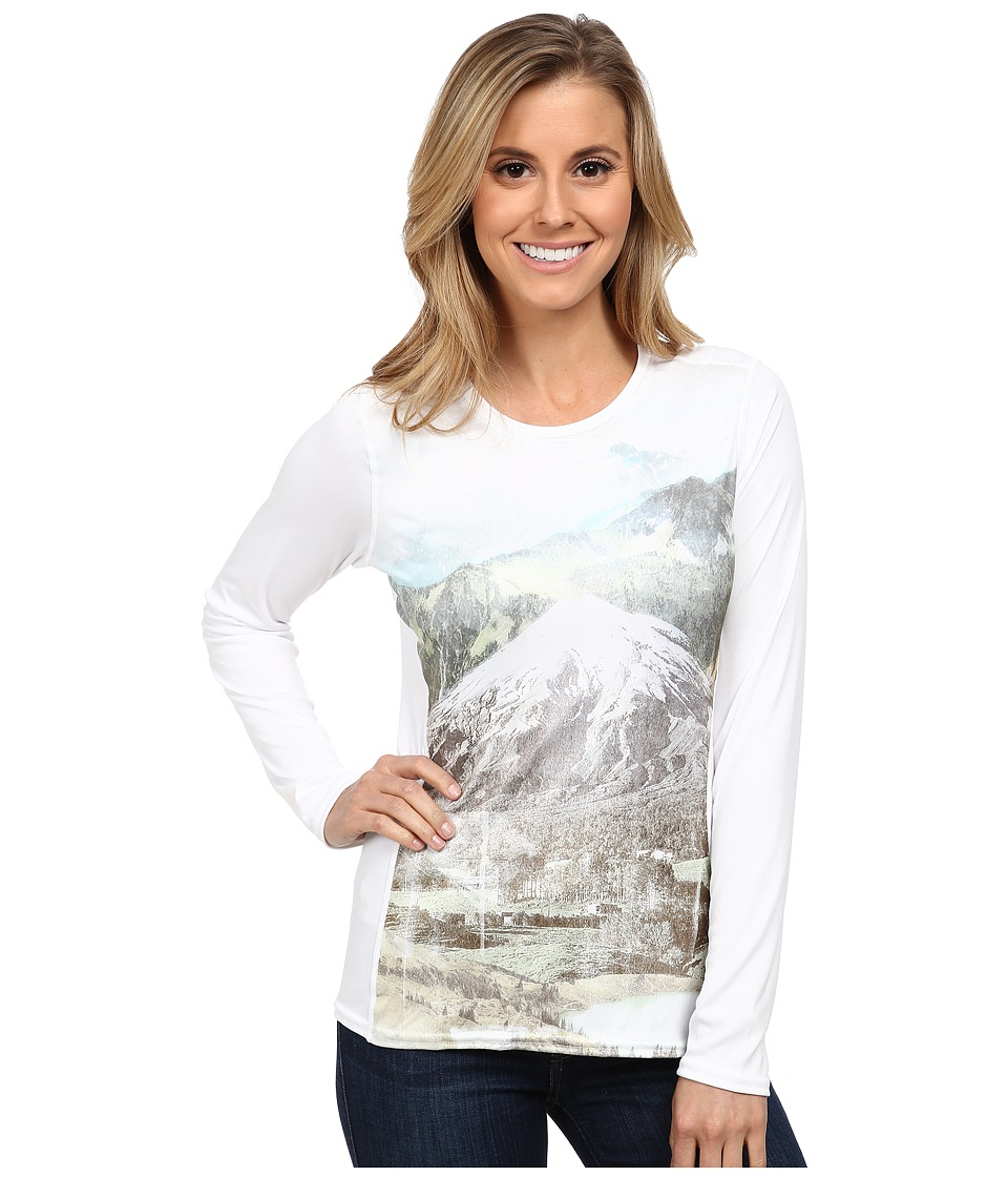 Hot Chillys - Peach Print Crewneck (Wanderlust/White) Women's Clothing