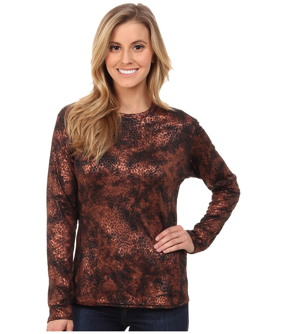 Hot Chillys Peach Print Crewneck (Copper Cheetah) Women