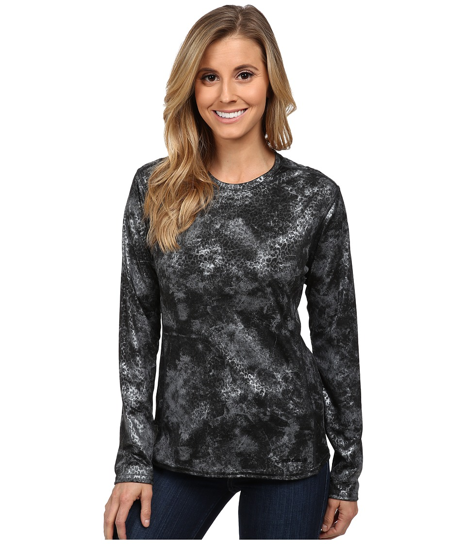 Hot Chillys Peach Print Crewneck (Silver Cheetah) Women