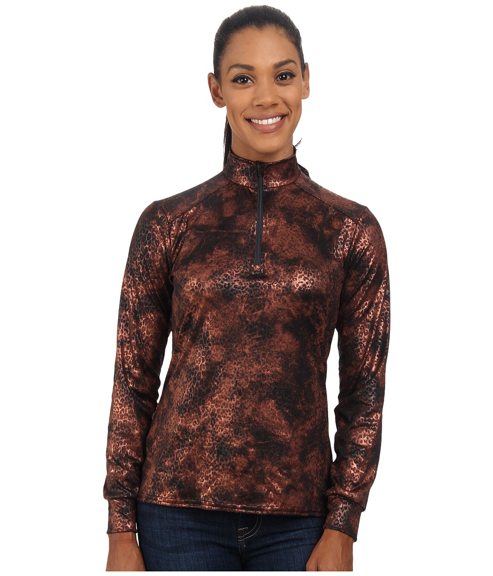 Hot Chillys Peach Print Zip Tee (Copper Cheetah) Women