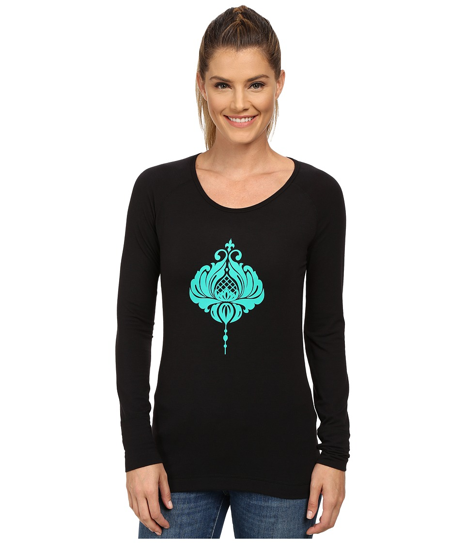 Hot Chillys - MTF Casablanca Print Scoop Neck Top (Black/Tropic Green) Women's Long Sleeve Pullover