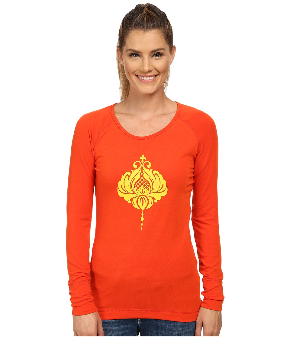 Hot Chillys - MTF Casablanca Print Scoop Neck Top (Cayenne/Gold) Women's Long Sleeve Pullover